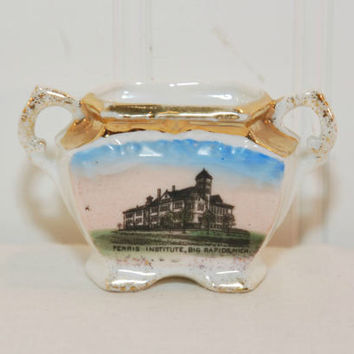 Vintage Ferris Institute Souvenir (c. 1900's) Small Two Handled Porcelain Souvenir, Scarce, Big Rapids, Michigan, Collectible, Historical