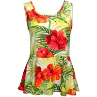 tangerine hawaiian peplum top