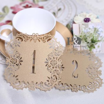 10pcs/set Meakin Hollow Lace Table Number Table Cards from 1 to 10 Rustic Wedding Centerpieces Decor