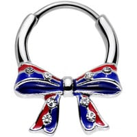 16 Gauge 9mm Clear Gem Red Blue America Tie a Ribbon Septum Clicker