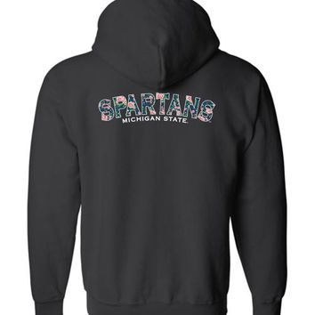 Official NCAA Michigan State University Spartans MSU Sparty Flower Pattern Basic Zip Hoodie - 35ms5c
