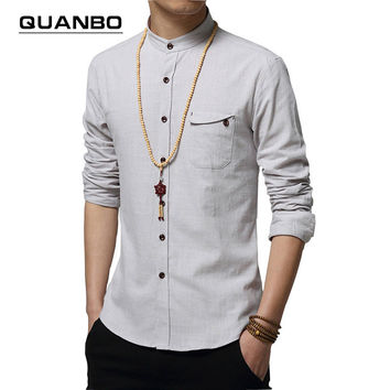 Men's Long-Sleeved Cotton Slim Linen Shirt