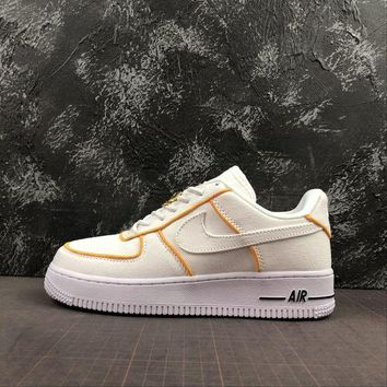 Nike Air Force 1 Af1 Low White/ Yellow Canvas Shoes DCCK