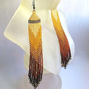 Extra Long Dangle Seed Bead Earrings With Fringe-Very Long Beaded Fringe Earrings In Chocolate Colors-Long Brown Earrings