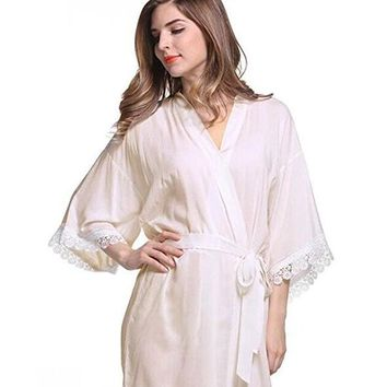 7Colors Long Sexy Lace Cotton Sleepwear Robes Women Bridal Clothes Kimono Bathrobe Gown Solid Nightdress Party Nightgown