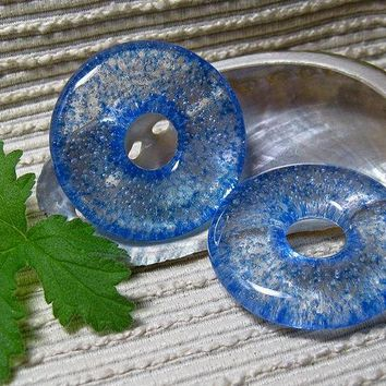 Jewelry Making Supplies / Blue Glass Meditation Circle Pendant / Round Focal Bead / Fused Glass / Donut Pendant