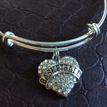 Basketball Crystal Heart Charm Silver Expandable Bangle Bracelet Sports Team Coach Gift Adjustable