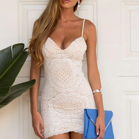 White Deep V Neck Backless Bodycon Dress