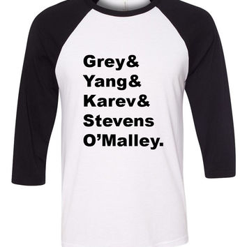 "Grey's Anatomy Interns ""Grey & Yang & Karev & Stevens & O'Malley."" Baseball Tee"