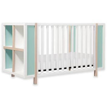 Babyletto Bingo 3-in-1 Convertible Crib and Storage Combo in White/Washed Natural with Cool Mint