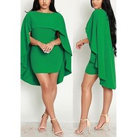 Streetstyle  Casual Green Draped Cape Round Neck Bodycon Homecoming Party Mini Dress