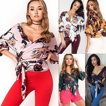 Fashion New Women Floral Print Lace up Tuxedo Wrap Over Satin Tops Blouse Sexy Deep V Neck Ladies Bandage Shirts Top