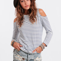 Nautical Illusion Open Shoulder Top
