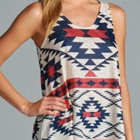 Aztec Sublimation Tank Top - Navy