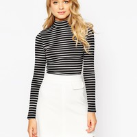 ASOS Crop Top In Turtleneck With Stripe and Long Sleeve