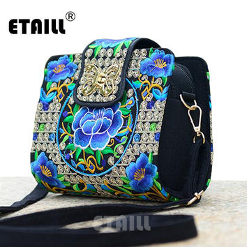 Double Side Chinese Ethnic Embroidery Bags Hmong Thai Indian Boho Embroidered Famous Brand Messenger Bag Crossbody Shoulder Bag
