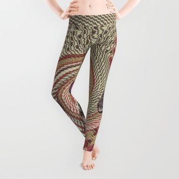 African woman profile on a woven basket Leggings by Just Kidding | Society6