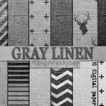 "Linen digital paper ""GRAY LINEN"" with linen background, canvas, texture in black, white, gray shades scrapbooking, invites, cards."