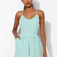 Lucca Couture Silky Open-Back Romper- Mint