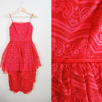 The Monroe - Vintage 50s 60s Red Scalloped LACE Tiered Party Dress Holiday Wedding
