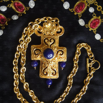 Vintage Christian Lacroix long chain statement necklace with cross pendant top with blue stones. Gorgeous masterpiece