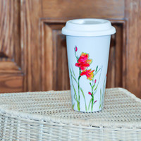 Hand Painted Ceramic Travel Mug Eco-Cup - Made to Order - Red and White - Silicon Lid