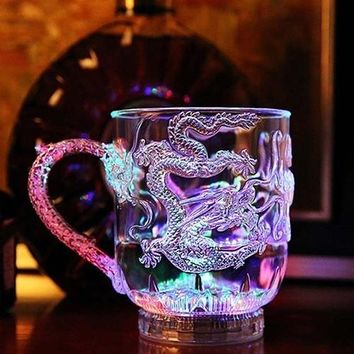 Unique Design LED Flashing Color Change Water Activated Light Up Dragon Beer Whisky Cup Mug (Size: One Size)