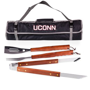 Uconn Huskies 3-Pc BBQ Tote & Tools Set-Black Digital Print