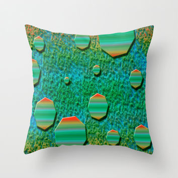 Celestial Octagon Orbs of Planet Uranus Throw Pillow by Distortion Art