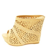 Whip-Stitched Laser Cut-Out Mule Wedges