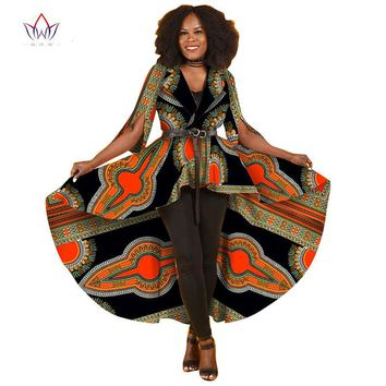 Summer New African Dresses for Women Trench Women Maxi Outwear Trench Coat Womens Dashikis Brand Clothing
