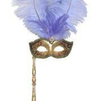 Gold and Purple Venetian Feather Masquerade Mask On A Stick with Large Light Purple Ostrich Feathers