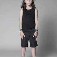 Nununu Deconstructed Skull Tank Top in Black - NU0708