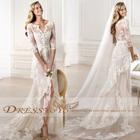 Custom-made V-Neck Long Sleeves Sexy Long High Quality Lace Dress Wedding Dress Wedding Bridal Wedding Gown Ball Gown