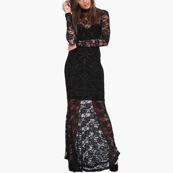 Black Long Sleeved Lace Maxi Dress