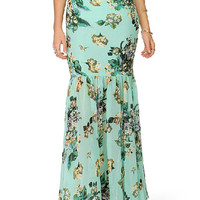 Floral Fishtail Bodycon Maxi Skirt