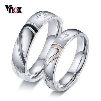Vnox Heart Puzzle His Queen Her King Rings for Couple Women Men Alliance Stainless Steel Wedding Jewelry Lovers Anniversary Gift