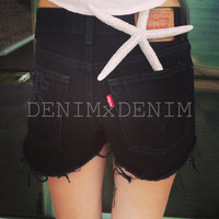Vintage Levis DESTROYED High Waist Low Rise TRASHED Black Denim Cut Off Shorts Wranglers