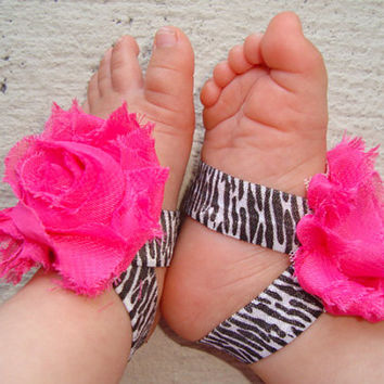 Baby Barefoot Sandals - Hot Pink Zebra Piggy Petals - Toe Blooms - Photo Props - Baby Shower Gift - Toddler Shoes - Baby Shoes