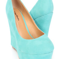 Teal Closed Toe Platform Wedges Faux Leather