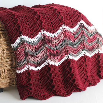 Afghan - Ripple Crochet Blanket - Burgundy