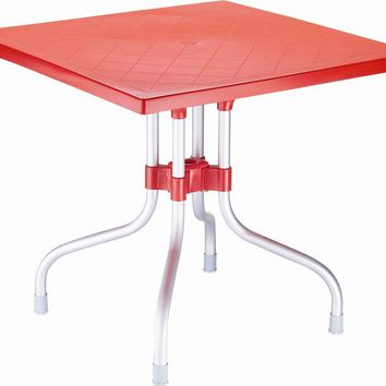 Forza Square Folding Table 31 inch Red