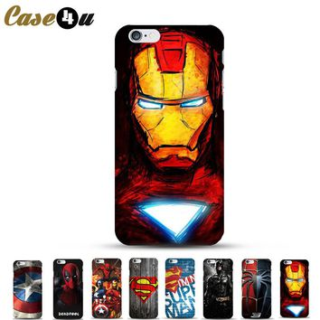Famous Ironman Marvel Avengers Superhero Hard Phone Case for coque iPhone 8 7 Plus 6s 5s SE iphone7 fundas Case Batman Spiderman