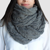 Hand knitted scarf, long knitted scarf, chunky cowl, chunky neckwarmer, long gray knitted scarf