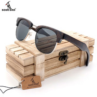 BOBO BIRD Vintage Club Semi-Rimless Wood Sunglasses Polarized Classic Mens Wood Sunglasses in Box