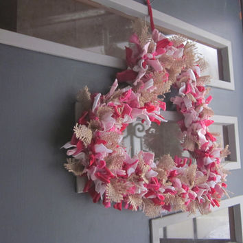 Primitive Burlap Valentine's Day Heart Rag Wreath with T Shirt Material, Pink and Red Door Decoration, Love Country Wedding Gift