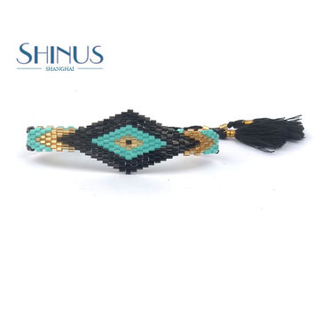 Shinus Bohemia Glass Bracelet Rope Chain Women Wb001-010
