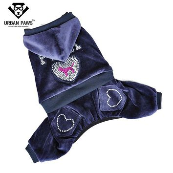 Urban Paws Spring/Autumn Velvet Dog Jumpsuit Fleece Dog Clothes Dog Coat with Four Legs Rhinestones Letters Pattern Dog Hoodies