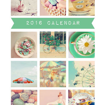 2016 Calendar, Photography Calendar, Desk Calendar, Photo Calendar, 5x7, Retro, Loose Pages, Fine Art Prints, Alice B Gardens, Vintage Style
