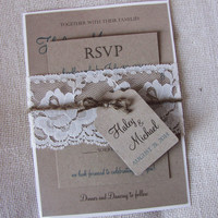 Rustic Wedding Invitation, Lace Wedding Invitation, Rustic Kraft Wedding Invitation, Vintage wedding